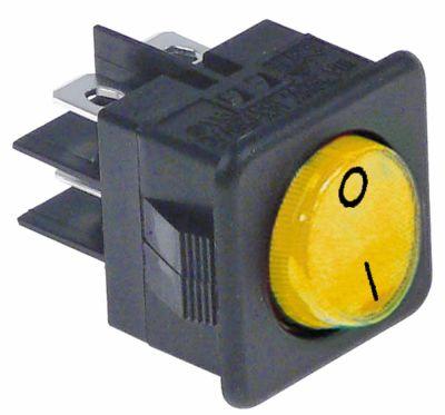 διακόπτης διαστ. τοποθέτ. στρογγυλό κίτρινο 2NO  250V 16A  - 0-I  σύνδεσμος αρσενικό εξάρτημα 6,3mm