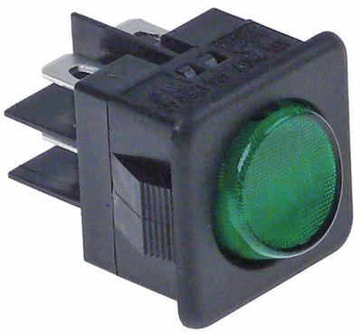 διακόπτης διαστ. τοποθέτ. στρογγυλό πράσινο 2CO  250V 16A  -  - σύνδεσμος αρσενικό εξάρτημα 6,3mm
