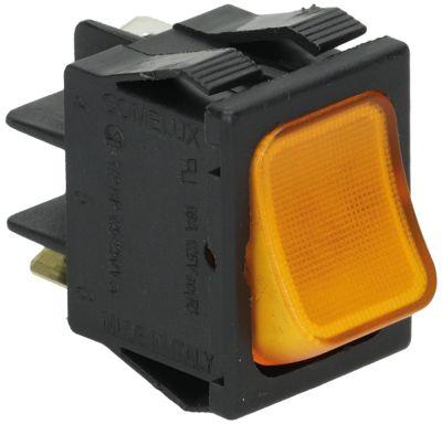 στιγμιαίος διακόπτης ορθογώνιο πορτοκαλί 1NO/ενδεικτική λυχνία 250V 16A