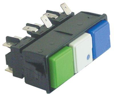 συνδυασμένοι διακόπτες διαστ. τοποθέτ. μανδάλωση τετράγωνο πράσινο/λευκό/μπλε 2NO/2CO/2CO  250V 16A