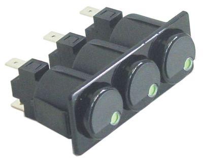 συνδυασμένοι διακόπτες διαστ. τοποθέτ. 28,5x77,5mm μανδάλωση στρογγυλό μαύρο 1NO/1NO/1NO  250V 16A  -