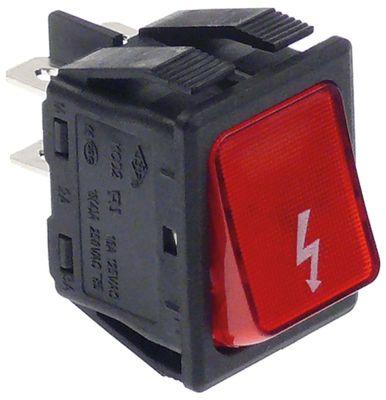 διακόπτης ορθογώνιο κόκκινο 2NO  250V 16A φλας σύνδεσμος αρσενικό εξάρτημα 6,3mm