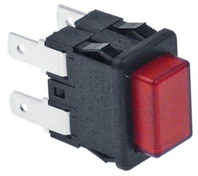 πληκτροδιακόπτης διαστ. τοποθέτ. 19x13mm ορθογώνιο κόκκινο 2NO  250V 16A φωτιζόμενο  -  -