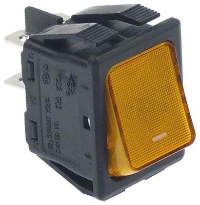 διακόπτης διαστ. τοποθέτ. 30x22mm ορθογώνιο 2NO  πορτοκαλί 230V 16A φωτιζόμενο  - I
