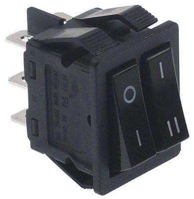 διακόπτης διαστ. τοποθέτ. ορθογώνιο μαύρο 1NO/1CO  250V 16A  - 0-I/I-II