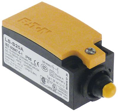μικροδιακόπτης πλαστικό 2NO  230V 3A Μ 75mm W 31mm H 33mm προστασία IP66  δύναμη ενεργοποίησης: 700g