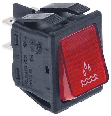στιγμιαίος διακόπτης διαστ. τοποθέτ. ορθογώνιο κόκκινο 2NO  250V 16A  - νερό