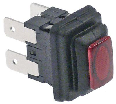 πληκτροδιακόπτης ορθογώνιο κόκκινο 2NO  250V 16A σύνδεσμος αρσενικό εξάρτημα 6,3mm