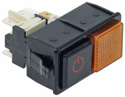 συνδυασμένοι διακόπτες τετράγωνο μαύρο/κίτρινο 2NO/ενδεικτική λυχνία 250V 16A κύριος διακόπτης