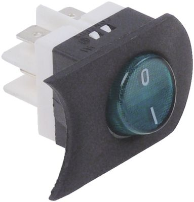 διακόπτης με δακτύλιο πράσινο 2NO  250V 16A 0-I  μετρήσεις στερέωσης 25x25 mm