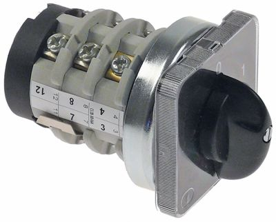 περιστροφικός διακόπτη 3 0-1-2  690V 20A σετ επαφών 6 ø άξονα 8x7 mm Μ άξονα 15mm