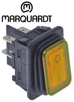 διακόπτης ορθογώνιο πορτοκαλί 2NO  250V 20A 0-I  σύνδεσμος αρσενικό εξάρτημα 6,3mm