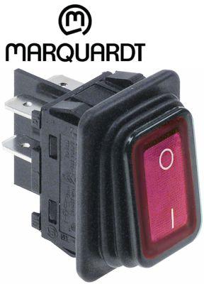 διακόπτης διαστ. τοποθέτ. ορθογώνιο κόκκινο 2NO  250V 20A  - 0-I  σύνδεσμος αρσενικό εξάρτημα 6,3mm