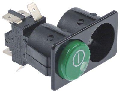 συνδυασμένοι διακόπτες διαστ. τοποθέτ. 28,5x52,6mm στρογγυλό πράσινο 2CO  250V 16A  -  -