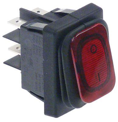 διακόπτης ορθογώνιο κόκκινο 2NO  250V 20A 0-I  σύνδεσμος αρσενικό εξάρτημα 6,3mm