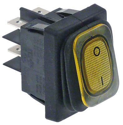 διακόπτης διαστ. τοποθέτ. ορθογώνιο κίτρινο 2NO  250V 20A  - 0-I  σύνδεσμος αρσενικό εξάρτημα 6,3mm
