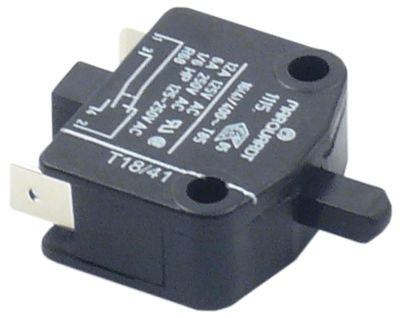 microswitch with plunger  250V 6A 1NO/1NC connection male faston 6.3mm
