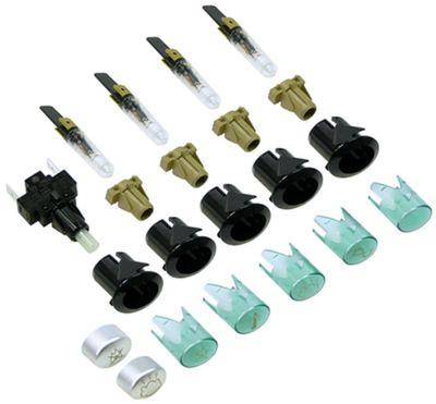 σετ ενδεικτικές λυχνίες πράσινο 230V σύνδεσμος αρσενικό εξάρτημα 6,3mm ø 20,6x16,4 mm