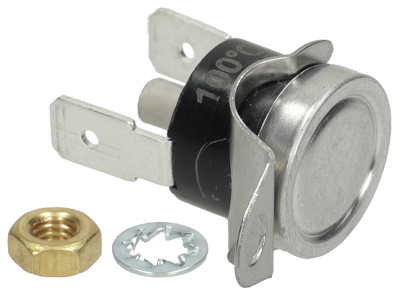 bi-metal thermostat switch-off temp. 100°C 1NC 1-pole 16A connection F6.3 1 hole fixing