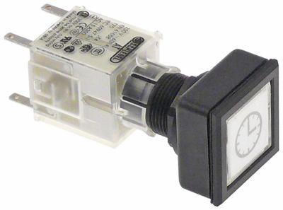 διακόπτης στιγμιαίος διαστ. τοποθέτ. ø16/24x24mm λευκό τετράγωνο 1NO/1NC  ακολουθία 0-1  ρολόι