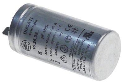 πυκνωτής λειτουργίας χωρητικότητα 6µF 425/475 V με μεταλλική θήκη ανοχή 5% ø 31mm Μ 60mm