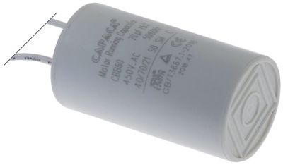 operating capacitor capacity 20µF 450V  tolerance 5% 50/60Hz ø 40mm L 73mm plastic