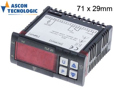 ηλεκτρονικός ελεγκτής TECNOLOGIC  τύπος TLE20  μετρήσεις στερέωσης 71x29 mm 230V τάση AC