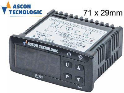 ηλεκτρονικός ελεγκτής TECNOLOGIC  τύπος E31 μετρήσεις στερέωσης 71x29 mm 230V τάση AC  NTC