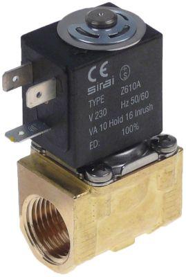 ηλεκτρομαγνητική βαλβίδα ορείχαλκος 2-οδοί 230VAC  είσοδος 1/2