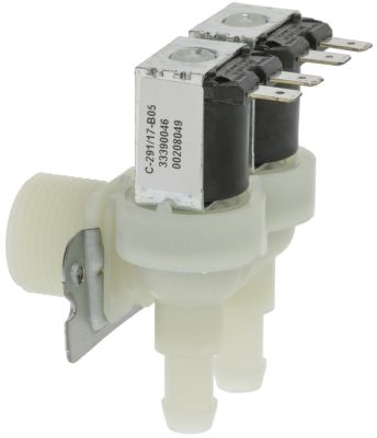 ηλεκτρομαγνητική βαλβίδα διπλό με γωνία πλαστικό είσοδος 3/4″  230VAC  ELBI  έξοδος 11,5mm DN10