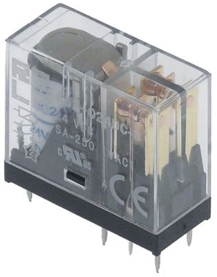 μικρορελέ 24VDC  2CO  στα 250V 8A σύνδεσμος πείροι μέγεθος ράστερ 5mm Italiana Relè