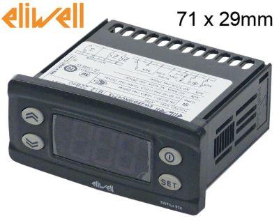 ηλεκτρονικός ελεγκτής ELIWELL  τύπος EWPlus 974  μετρήσεις στερέωσης 71x29 mm 230V τάση AC  NTC