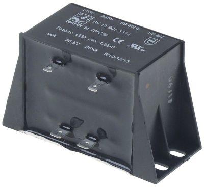 μετασχηματιστής κύρια τάση 240V δευτερεύον 26,5V 20VA δευτερεύον 1,25A 50-60 Hz