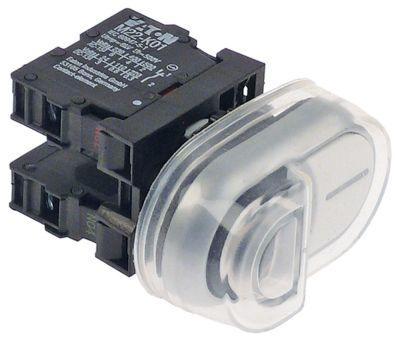 στιγμιαίος διακόπτης start διαστ. τοποθέτ. ø22mm  μαύρο/λευκό 1NO/1NC  230V 6A 0-1  σύνδεσμος βίδα