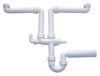 σιφόνι νιπτήρες 2 σπείρωμα 1½″  διπλό PP  μέγ. απόσταση εκροής 630mm ø στομίου 50mm