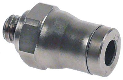 σύνδεσμος σωλήνα σπείρωμα M5  Μ 19mm ø σωλήνα 4mm ανοξείδωτος χάλυβας