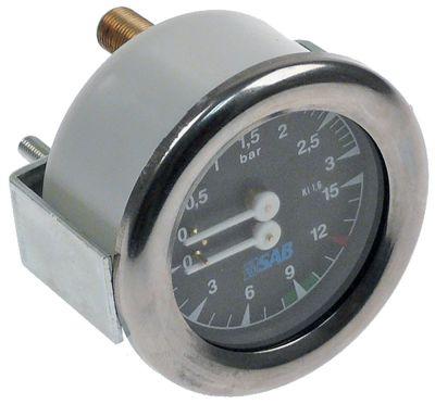 μανόμετρο ø 63mm εύρος πίεσης 0-3 / 0-15 bar σύνδεσμος στην πίσω πλευρά σπείρωμα 1/8″