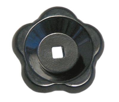 λαβή αστέρι άξονας 9x9 mm ø 80mm Μ 23mm μαύρο θερμοπλαστικό