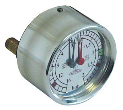 μανόμετρο διπλή κλίμακα ø 60mm εύρος πίεσης 0-2/0-16 bar
