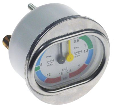 μανόμετρο διπλή κλίμακα ø 60mm εύρος πίεσης 0-2,5 / 0-16 bar