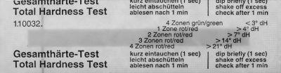 ταινία ελέγχου τύπος σκληρότητα νερού (γερμανικοί βαθμοί)