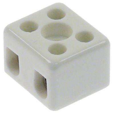 κλέμα πορσελάνης 2-πόλοι 2,5mm² μέγ. 10A μέγ. 250V Μ 21mm W 18mm H 15,5mm απόσταση στερέωσης  -mm