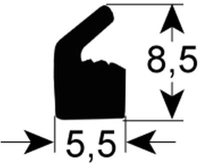 φλάντζα καπακιού W 5.5mm H 9mm σιλικόνη Ποσ. 10m