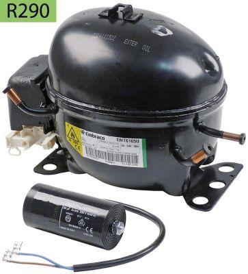 συμπιεστής ψυκτικό R290  τύπος EMT6165U  220-240 V 50Hz HBP  7.8kg 1/3HP χωρητικότητα κυλίνδρου 6cm³