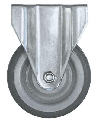 ρόδα βαρύ φορτίου  ø 125mm στερέωση σε πλάκα περίβλημα επιχρωμιωμένο χαλύβδινο φύλλο
