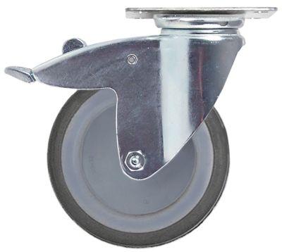 ρόδα με πέδη στροφέα ø 125mm στερέωση σε πλάκα 95x70mm