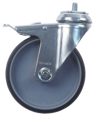 ρόδα με πέδη στροφέα ø 125mm σπείρωμα περίβλημα επιχρωμιωμένος χάλυβας χωρητικότητα 90kg