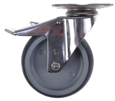 ρόδα με πέδη στροφέα ø 125mm στερέωση σε πλάκα περίβλημα ανοξείδωτος χάλυβας
