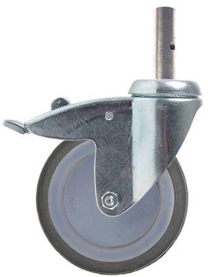 ρόδα με πέδη στροφέα ø 125mm κάνουλα περίβλημα επιχρωμιωμένο χαλύβδινο φύλλο