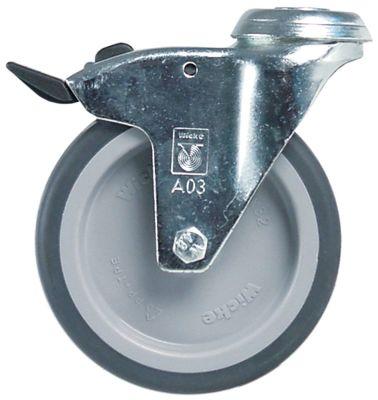 ρόδα με πέδη ø 125mm οπή μπουλονιού ø10mm περίβλημα επιψευδαργυρωμένο χαλύβδινο φύλλο